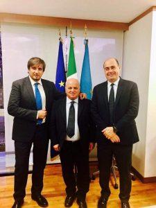 L'assessore Refrigeri, il Sindaco Caliciotti e il Presidente Zingaretti