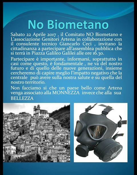 NO Biometano: sabato assemblea pubblica per conoscere i rischi della centrale