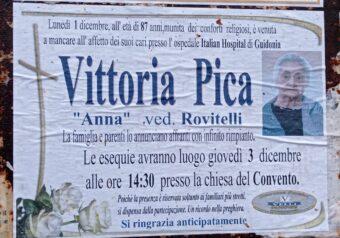 L'ultimo saluto a Vittoria Pica