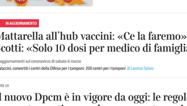 """Pochi vaccini, anche Corriere.it titola: """"Solo dieci dosi per medico di famiglia"""""""